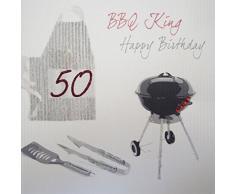 White Cotton Cards SB7-50 de Utensilios de Barbacoa King, 50 Feliz cumpleaños Hecho a Mano 50th cumpleaños con Texto en inglés, Blanco