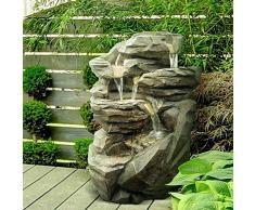 Fuente jardín fuente exterior Cascada XL con LED blanco 71 cm
