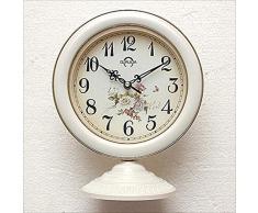DDHZTA Europeo Mudo Mesa Reloj Dormitorio Sala de Estar Reloj decoración jardín Colgante de Doble Uso Reloj Reloj de Escritorio,D