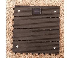Bluelover Plástico compuesto suelo de madera con Solar luz al aire libre jardín balcón entrelazadas cubiertas azulejo-negro