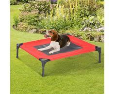 PawHut Cama Mascota para Perros Gatos Camas para Domir Relajar Exterior Terraza Jardín Malla de Ventilación (M: 76 x 61 x 18cm (LxAnxAl))