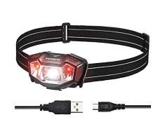 VicTsing Linterna Frontal LED Recargable con 50H de Autonomía, Linterna Cabeza Ultra Ligera de Alta Potencia, 6 Modos de Luz, Impermeable IPX6, Ajustable 90º para Running, Trabajo, Pesca y Camping