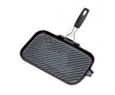 Le Creuset - Parrilla grill Rectangular con mango abatible de hierro colado esmaltado, 36cm x 20cm, color negro