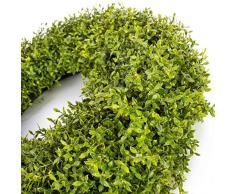 Set 2 x Decorativa corona básica, verde, Ø 35 cm - 2 unidades de Guirnalda artificial / Composición floral - artplants