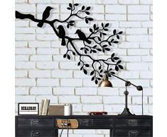 DEKADRON Arte de pared de metal, diseño de pájaros de metal, decoración de pared de metal, pájaros en rama, escultura de pájaros, regalo inusual, regalo de inauguración de la casa, decoración interior