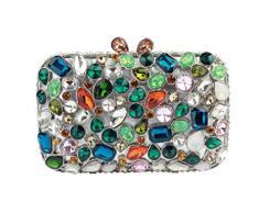 Yilongsheng Las mujeres del adoquín piso bolsos de embrague con coloridas piedras de cristal(plata multicolor)