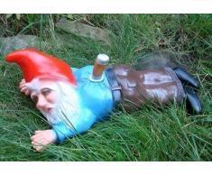Figura de enanito de jardín apuñalado (plástico antirroturas, hecha en Alemania)