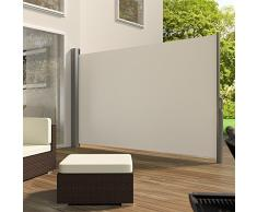 TecTake Toldo lateral de aluminio separador retráctil terraza protección 180x300 beige De vivienda y de base postes completo de aluminio