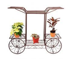 Carrito revestimiento metálico de flores diseño con texto en inglés de árbol pantalla Garden estantes con una capacidad para diseño cilíndrico Plant soporte bronce