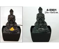 PAME 45901 - Fuente de resina con LED, diseño buda, 21 x 13 x 12 cm