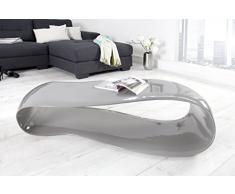 DuNord Design - Mesa sofá Mesa Gravity Gris 110 cm Brillante Fibra de Vidrio Diseño Lounge Mesa