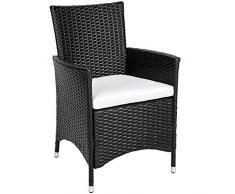 TecTake 2 x Ratán sintético silla de jardín set marco de aluminio negro con cojines + 2 Set de fundas intercambiables, tornillos de acero inoxidable