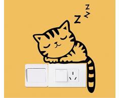 Ecloud Shop® 2pcs impermeables desprendibles ajuste el interruptor de la historieta Animales hogar creativo de la diversión DIY Lámpara de pared vinilo de la etiqueta a prueba de agua pegatinas de pared (Gatito el dormir)
