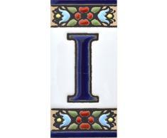 """Letreros con numeros y letras en azulejo de ceramica policromada, pintados a mano en técnica cuerda seca para placas con nombres, direcciones y señaléctica. Texto personalizable. Diseño FLORES MINI 7,3 cm x 3,5 cm. (LETRA """"I"""")"""