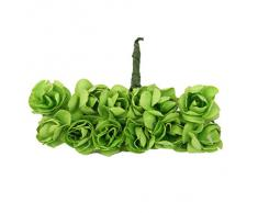144pcs Ramo Rosa Artificial Flor Papel Decoración para Hogar Boda (verde)