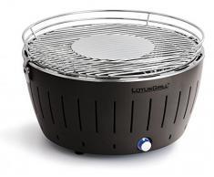 LotusGrill - Barbacoa de mesa sin humos (tecnología Turboboostsystem con 25 % más de potencia, incluye funda Magic Cover de 24 cm de diámetro), color gris antracita