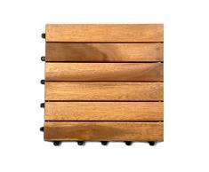 XXS muebles conjunto de 11 de madera de acacia de madera azulejo 01 6 listones es suficiente para cubrir 1 m² balcón terraza de acacia suelo en mosaico diseño o normal acostado patrones de mosaico Diseño con drenaje sistema paquetería