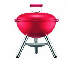 Bodum Fyrkat - Barbacoa a carbón, con tapa y parrilla, portátil, patas de acero inoxidable, asa de silicona, color rojo