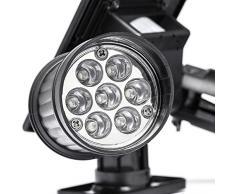 Gledto Impermeable 14 LEDs Solar Powered Jardín Anti-Agua Paisaje Spotlight Reflector Gemelos Panaroma PIR Sensor Movimiento Doble Cabezal Ajustable Focos Luz de Pared al Aire Libres para Camino (NEGRO)