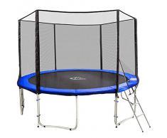 TecTake Cama elástica trampolín para jardin con red de seguridad escalera 427 cm 14ft