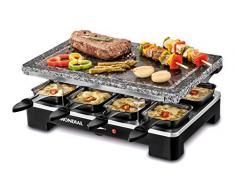Mondial SG01 Le Gourmet Plancha de Piedra + Grill + Raclette, 1400 W, Acero Inoxidable