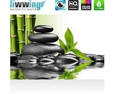 Liwwing - Mural de pared diseño de piedras de agua de madera