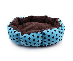 Algodón suave polar desmontable perro cachorro gato cama caliente casa felpa nido acogedor casa jaula Mat Cojín para perros accesorios azul puntos negros