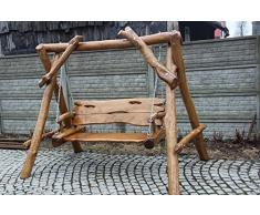Rústico Jardín Columpio de madera maciza – Hecha a mano de madera natural