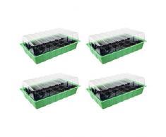 4 x Invernadero – para hasta 96 Plantas, aprox. 36 X 22 X 12 cm (LxBxH) por Mini invernadero, plástico, verde/negro/transparente