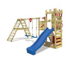 WICKEY Parque infantil de madera Smart Crown con columpio y tobogán, Torre de escalada da exterior con arenero y escalera para niños