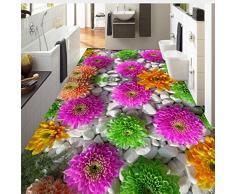 Lifme Personalizado Autoadhesivo Piso Mural 3D Flores Empedrado Plantas Pisos Pegatinas Baño Sala De Estar Pvc Impermeable Papel Pintado 3 D-120X100Cm