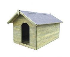 vidaXL Casa para Perros de Jardín Madera Pino Verde Caseta de Mascotas Patio