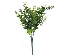 1Pc Planta Artificial 7-Rama Eucalipto Hoja Grante Hierba Decor Hogar Boda Verde