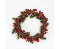 Decorativa corona con escaramujos y bayas, ramas de abetos, Ø 30 cm - Guirnalda artificial / Composición floral - artplants