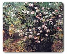 Vincent Van Gogh - Arbusto De Rosas Floridas 1889 Alfombrilla Para Ratón (23 x 19cm)