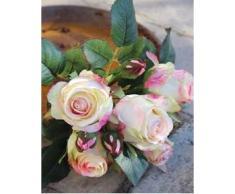 Ramo de rosas artificiales Mini-MOLLY con 8 rosas, crema-rosa, 25 cm, Ø 15 cm - Ramillete sintético / Flores decorativas - artplants