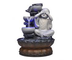 Fuente de relajación interior Fuente de agua de sobremesa for interiores Zen Fuente de agua LED de Buda pequeño y tranquilo 10.8 de alto for escritorio de mesa Oficina Hogar Dormitorio Cascada interi