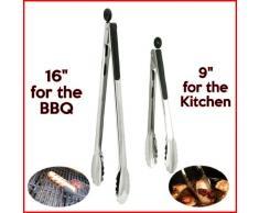 Dos negros con mango de acero inoxidable con cerradura para comida pinzas de utensilios de cocina. One x 40,64 cm pinzas, ideal para el para barbacoa o función Grill y en One x 22,86 cm pinzas ideal para cocina.