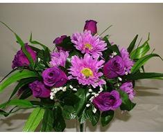 Ramo de rosas y gerberas artificiales de seda, grande y lujoso, 36 cm, morado, 2 Bunches