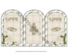 Rosas blancas de día de la boda Arco trípticas con por Michelle Johnson