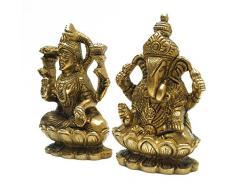 Diosa Laxmi Ganesha Atractivo Latón Estatua Decoración india Escultura étnica