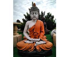 DEGARDEN AnaParra Figura Decorativa Buda del Amor Decorativa para Jardín o Exterior Hecho de hormigón-Piedra Artificial   Figura Buda Grande de 73cm, Color Naranja