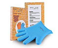 TTLIFE Par de guantes de Silicona manopla resistente al calor impermeable Guantes para horno barbacoa parrilla BBQ guantes higiénicos de cocina (llamativo Azul)