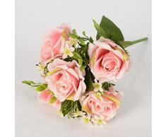 5 Ast por la sede artificial del ramo de la flor rosa con pequeñas flores para la decoración de Navidad de Rose