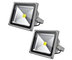 2 PCS Foco Proyector 30W, blanco frío - Foco de exterior LED. Proyector de Alta potencia (30W) y gran resistencia (IP65)