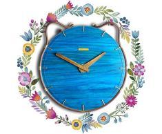 XIXIGZ Relojes De Pared Estilo Mediterráneo Nordic Cat Relojes De Madera Maciza Salón Dormitorio Arte Jardín Personalidad Creativa Mute Reloj De Pared