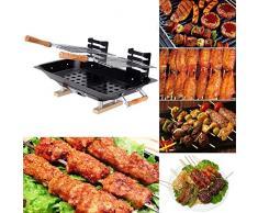 Anself Parilla portátil barbacoa de carbón BBQ doble parejas de picnic para acampa jardín aire libre cocina exterior