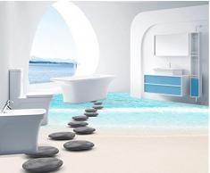 BZDHWWH Suelo 3D 3D Playa Adoquín 3D Wallpaper Personalizar Sala De Estar Dormitorio Cocina Baño 3D Decoración Del Piso,140Cm X 200Cm
