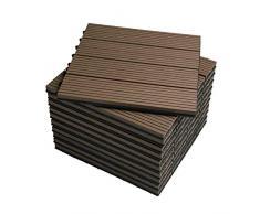 WOLTU Suelo de WPC Set de 11 Baldosas de Madera Exterior para Porche Patios Jardin, 30 x 30 cm Compuesta Azulejos para Terraza Marrón