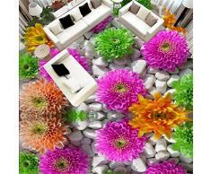 Mddrr Personalizado Autoadhesivo Piso Mural 3D Flores Empedrado Plantas Pisos Pegatinas Baño Sala De Estar Pvc Impermeable Papel Pintado 3 D - Impresión Hd - Decoración Moderna-350X245Cm